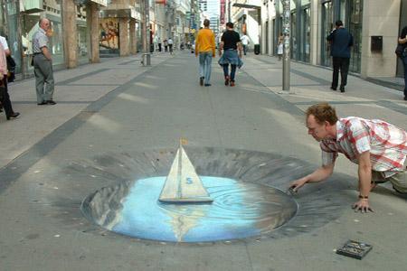 Amazing-3D-Sidewalk-Art-boat