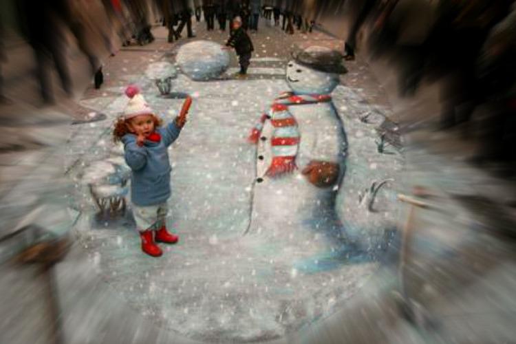 Amazing-3D-Sidewalk-Art-snowman