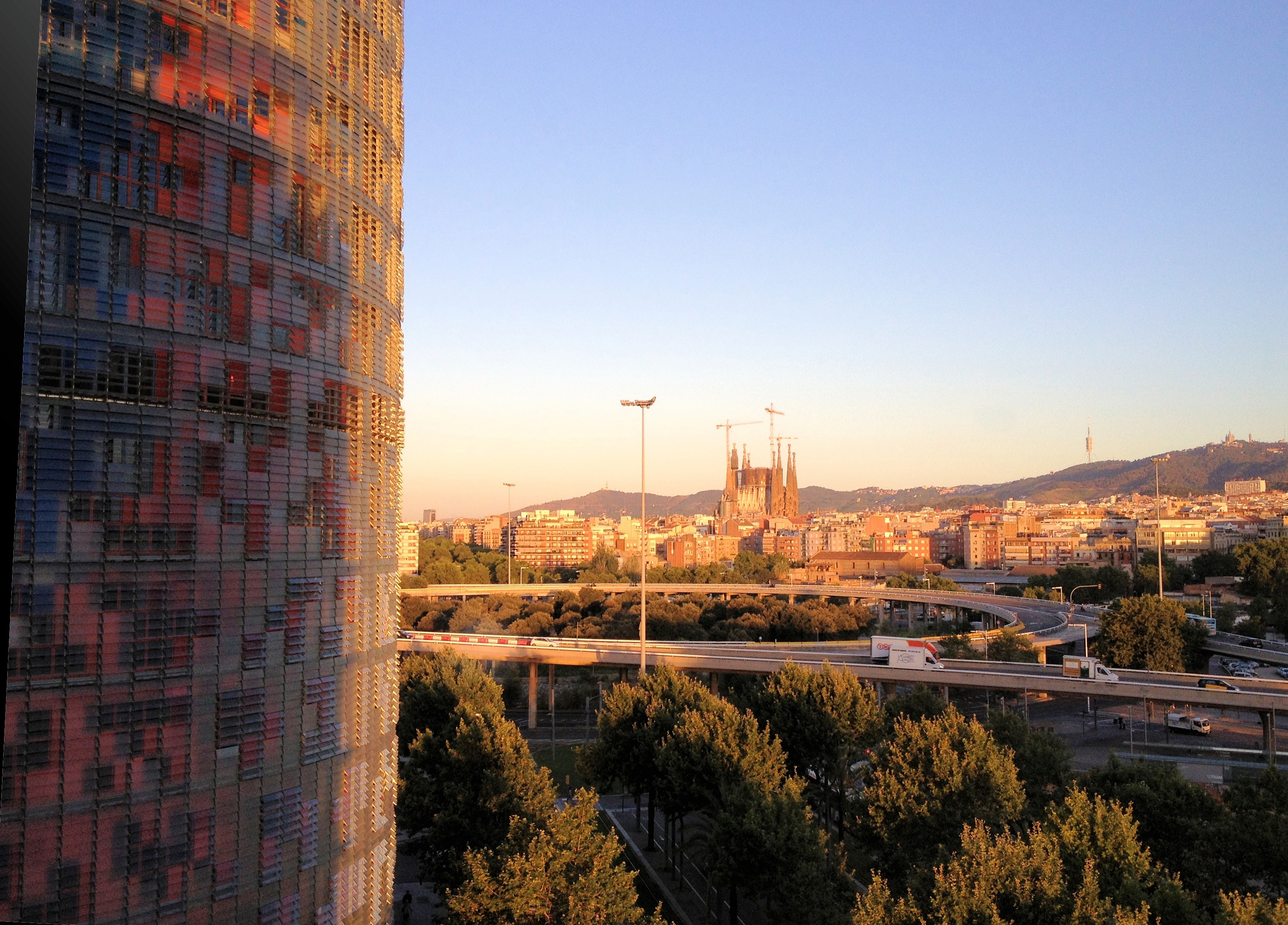 Admiring the Sagrada Familia from Silken Diagonal Hotel
