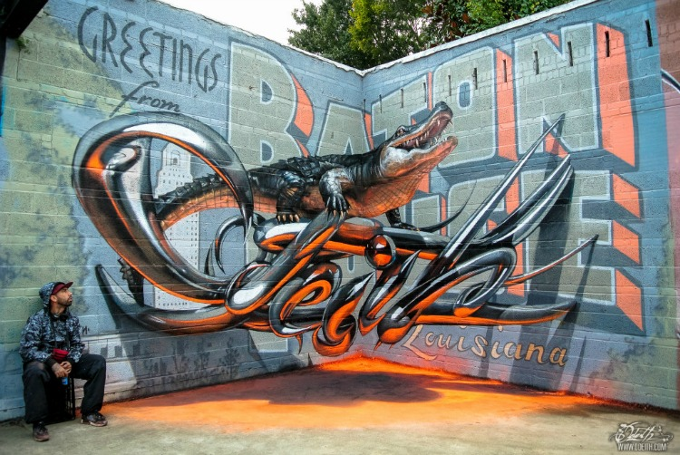 Odeith-aligator-stading-on-Anamorphic-3d-chrome-letters-Greetings-from-Baton-Rouge1