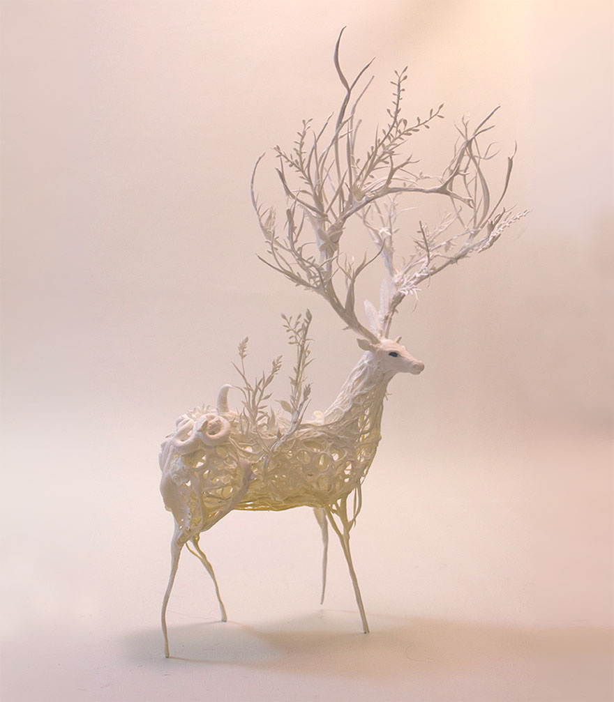 Surrealanimalsculpturesellenjewett The Golden Scope - Surreal animal plant sculptures ellen jewett