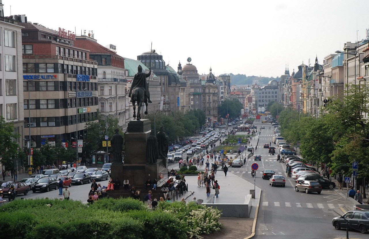 Wenceslas square the golden scope for Prague square